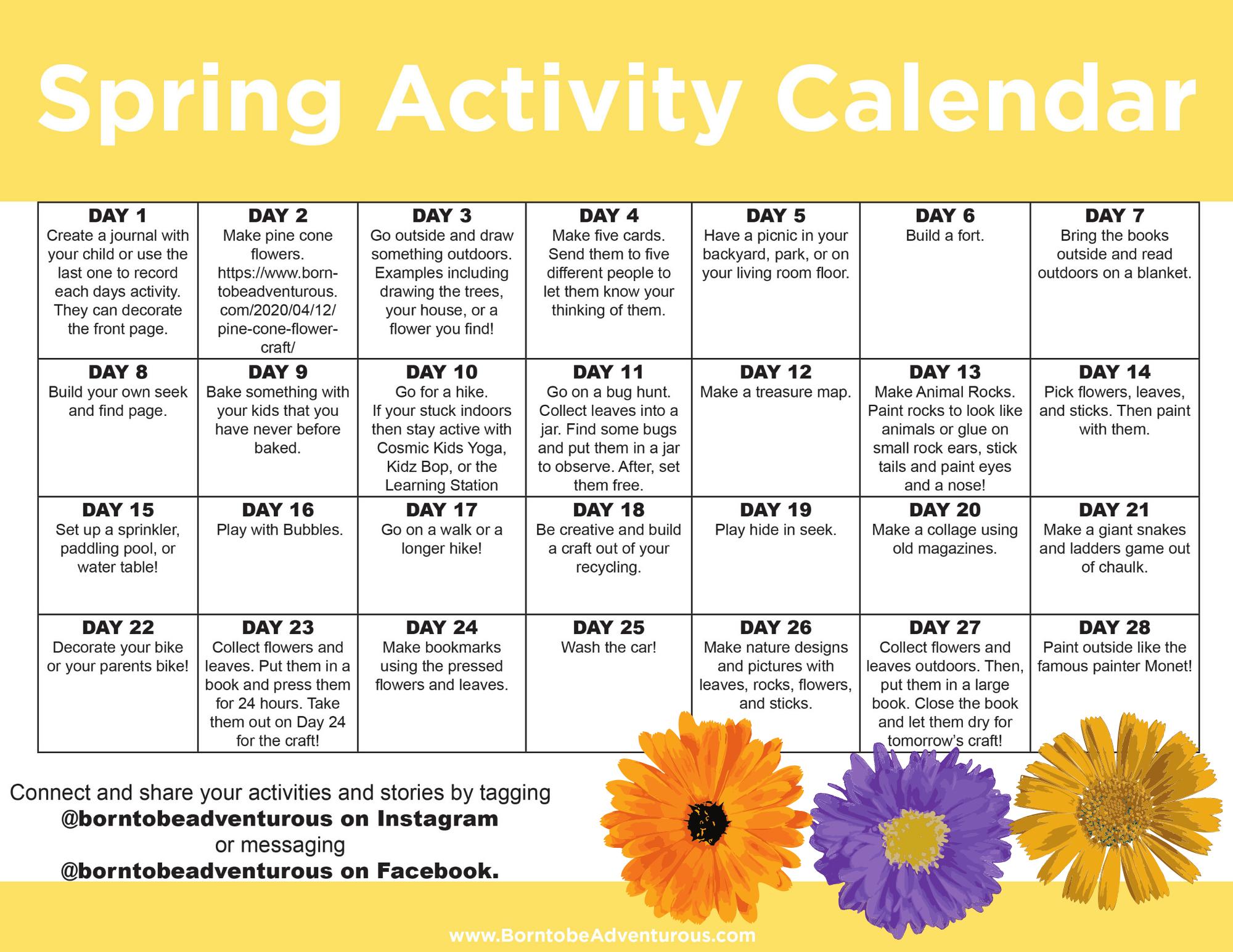 Spring Activity Calendar